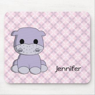 Cute baby hippo cartoon name kids mousepad
