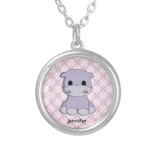 Cute baby hippo cartoon name necklace