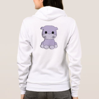 Cute baby hippo cartoon name woman's hoodie