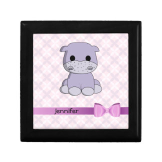 Cute baby hippo cartoon with bow name gift box