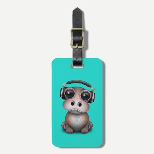 Cute Baby Hippo Dj Wearing Headphones Bag Tag