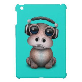 Cute Baby Hippo Dj Wearing Headphones Cover For The iPad Mini