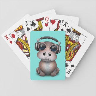 Cute Baby Hippo Dj Wearing Headphones Playing Cards