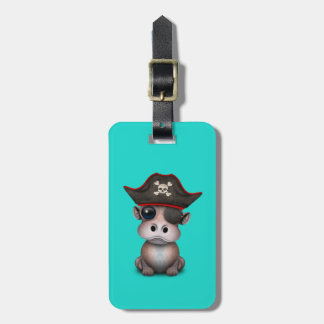 Cute Baby Hippo Pirate Bag Tag