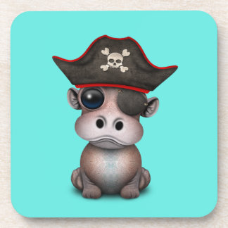 Cute Baby Hippo Pirate Beverage Coaster