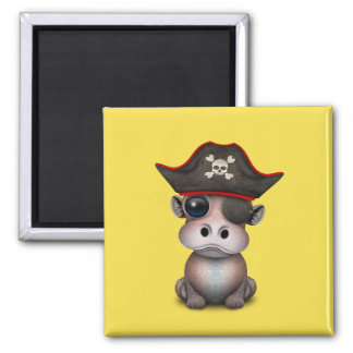 Cute Baby Hippo Pirate Magnet