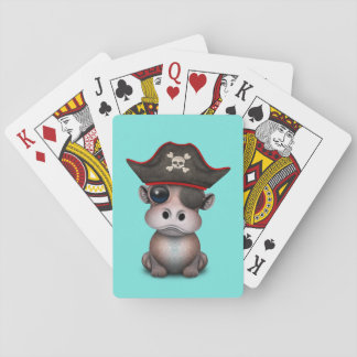 Cute Baby Hippo Pirate Playing Cards