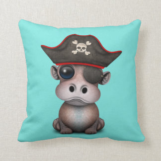 Cute Baby Hippo Pirate Throw Pillow