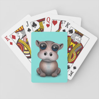 Cute Baby Hippo Playing Cards