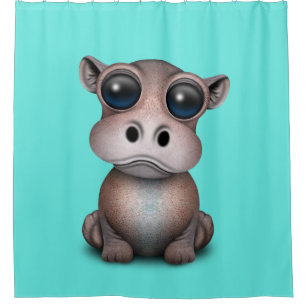 Cute Baby Hippo Shower Curtain