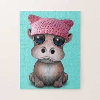 Cute Baby Hippo Wearing Pussy Hat Jigsaw Puzzle
