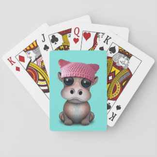 Cute Baby Hippo Wearing Pussy Hat Playing Cards