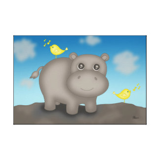 Cute Baby Hippo with Birds Canvas Print