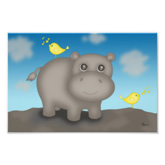 Cute Baby Hippo with Birds Photo Print