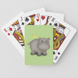 Cute Baby Hippo with Birds Playing Cards