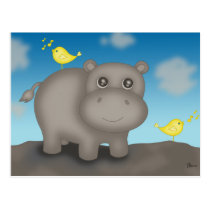 Cute Baby Hippo with Birds Postcard