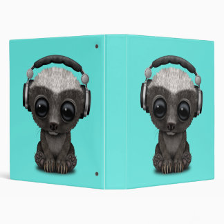 Cute Baby Honey Badger Dj Wearing Headphones Binder