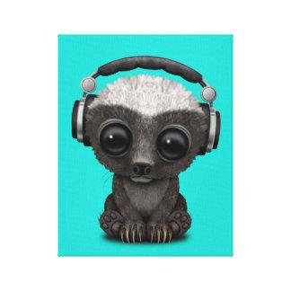 Cute Baby Honey Badger Dj Wearing Headphones Canvas Print