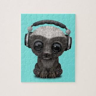 Cute Baby Honey Badger Dj Wearing Headphones Jigsaw Puzzle