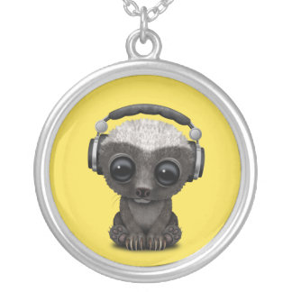 Cute Baby Honey Badger Dj Wearing Headphones Silver Plated Necklace