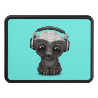 Cute Baby Honey Badger Dj Wearing Headphones Trailer Hitch Cover