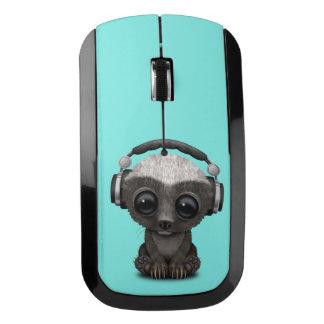Cute Baby Honey Badger Dj Wearing Headphones Wireless Mouse