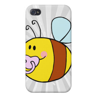 cute baby honey bee with pacifier cartoon iPhone 4/4S covers