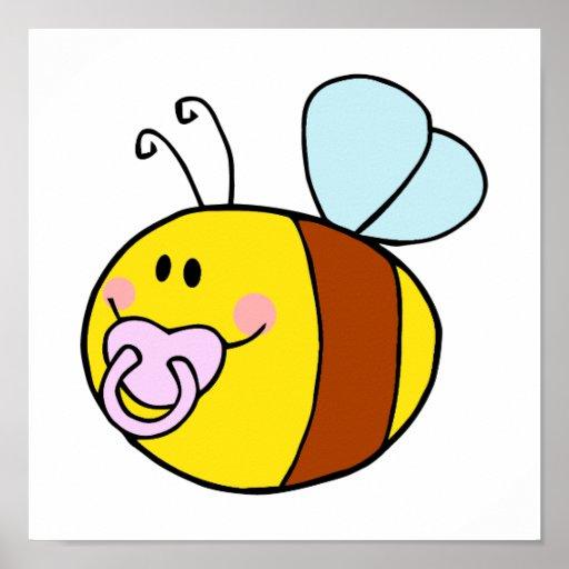 cute baby honey bee with pacifier cartoon print