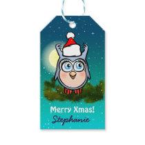 Cute Baby Hoot Celebrating Christmas Gift Tags
