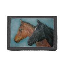 cute baby horses black foal chestnut foal portrait trifold wallet