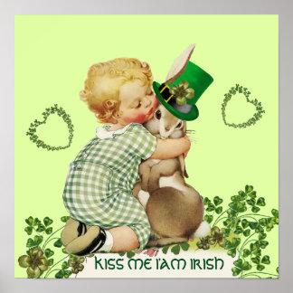 CUTE BABY HUGGING RABBIT  Irish St.Patrick's Day Poster