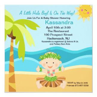 "Cute Baby Hula Boy  Baby Shower Invitation 5.25"" Square Invitation Card"