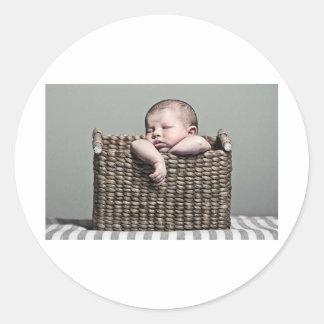 Cute Baby in Basket Classic Round Sticker