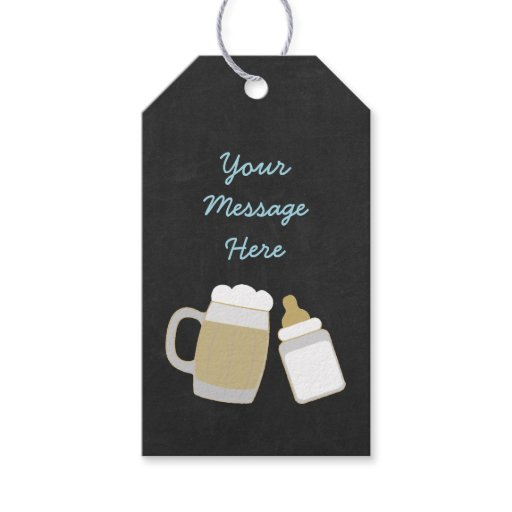 Cute Baby Is Brewing Party Favor Tags Blue