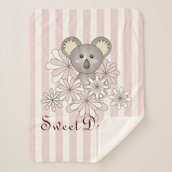 Cute Baby Koala Animal Cartoon Pastel Pink Stripe