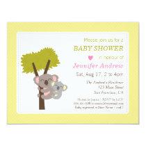 Cute Baby Koala Bear and Mommy Baby Shower Invitation