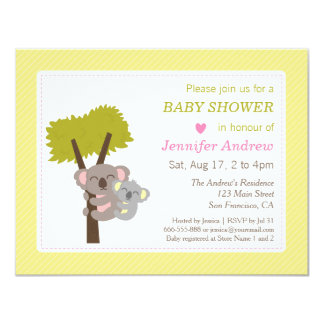 Cute Baby Koala Bear and Mommy Baby Shower 4.25x5.5 Paper Invitation Card
