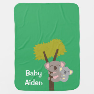 Cute Baby Koala Bear and Mommy For Babies Receiving Blanket