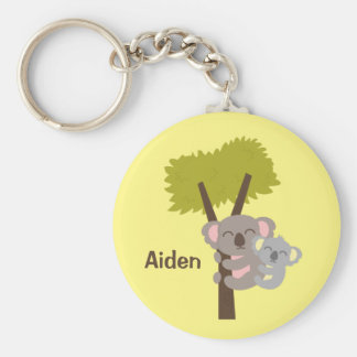 Cute Baby Koala Bear and Mommy For Kids Basic Round Button Keychain
