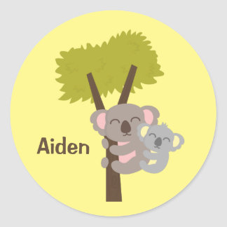 Cute Baby Koala Bear and Mommy For Kids Classic Round Sticker