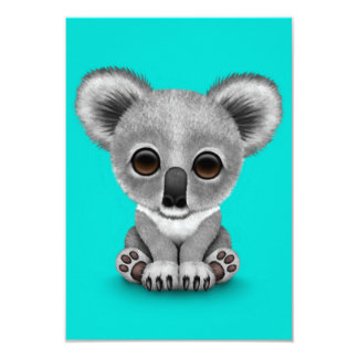 Cute Baby Koala Bear Cub on Blue Card
