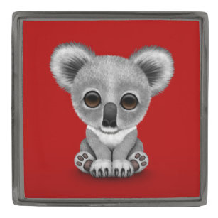 Cute Baby Koala Bear Cub On Red Gunmetal Finish Lapel Pin