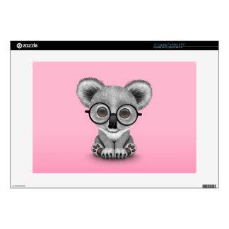 "Cute Baby Koala Bear Cub Wearing Glasses on Pink 15"" Laptop Decal"