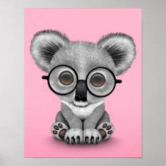 Cute Baby Koala Bear Cub Wearing Glasses on Pink Poster