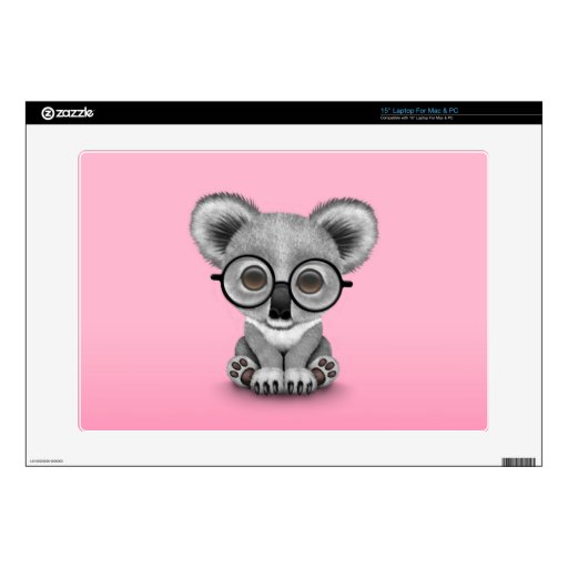 Cute Baby Koala Bear Cub Wearing Glasses on Pink Decal For Laptop