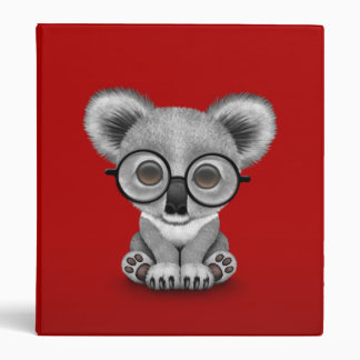 Cute Baby Koala Bear Cub Wearing Glasses on Red Binder