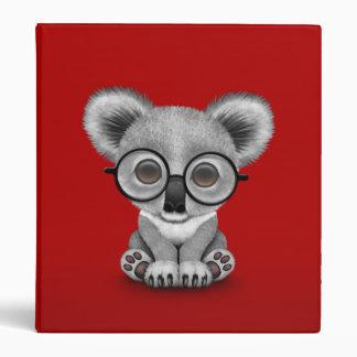 Cute Baby Koala Bear Cub Wearing Glasses on Red Vinyl Binders