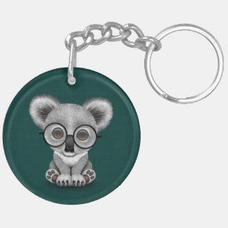 Cute Baby Koala Bear Cub Wearing Glasses on Teal Keychain