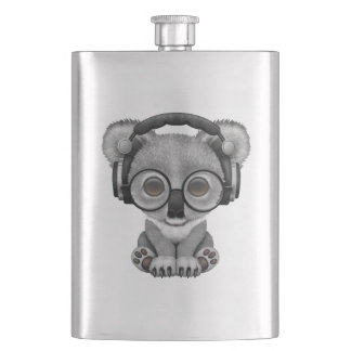 Cute Baby Koala Bear Dj Wearing Headphones Hip Flask