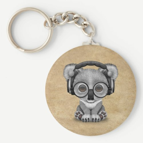 Cute Baby Koala Bear Dj Wearing Headphones Keychain